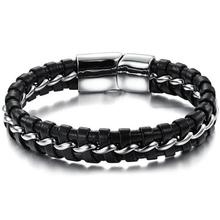 Stainless Steel Genuine Leather Bracelets for women Charm men Black Braid & Bangles Men Jewelry