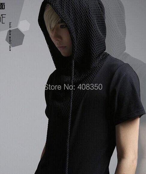 Reticularis Hooded T-shirts Men\'s Black White Brand Short Sleeve Summer Top Tees 2015 Costume Casual Masculina Camiseta Hombre (11).jpg