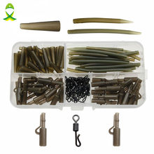 JSM 120pcs Carp Fishing Accessories Tackle Anti Tangle Sleeves Tail Rubbers Safety Lead Clips Quick Change Swivels Set With Box(China)