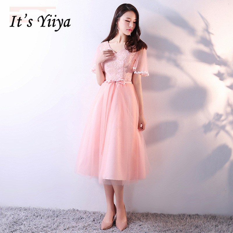 It's YiiYa Luxury Pink V-Neck Half Sleeve Floral Print Lace   Cocktail     Dress   Embroidery Tea-Length Formal   Dress   Party Gown MX065