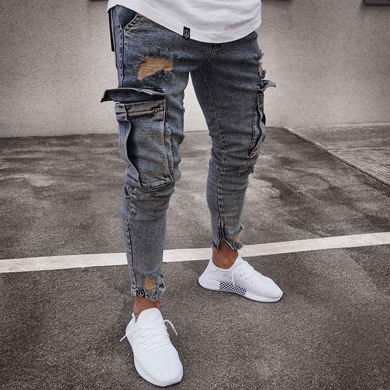 Multi Pocket Men Ripped Skinny Jeans Destroyed Frayed Slim Fit Denim Pant Casual Men Slim Hole Zipper Nostalgic Blue Jeans Pants