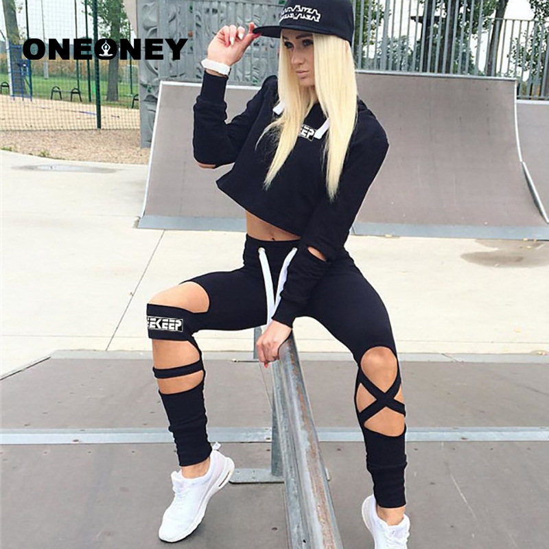 2 Piece Sport Set Women 2018 Ropa Deportiva Mujer Gym Long Sleeve Womens Tracksuits Hoodies and Pants Crop Top Trouser Set Black