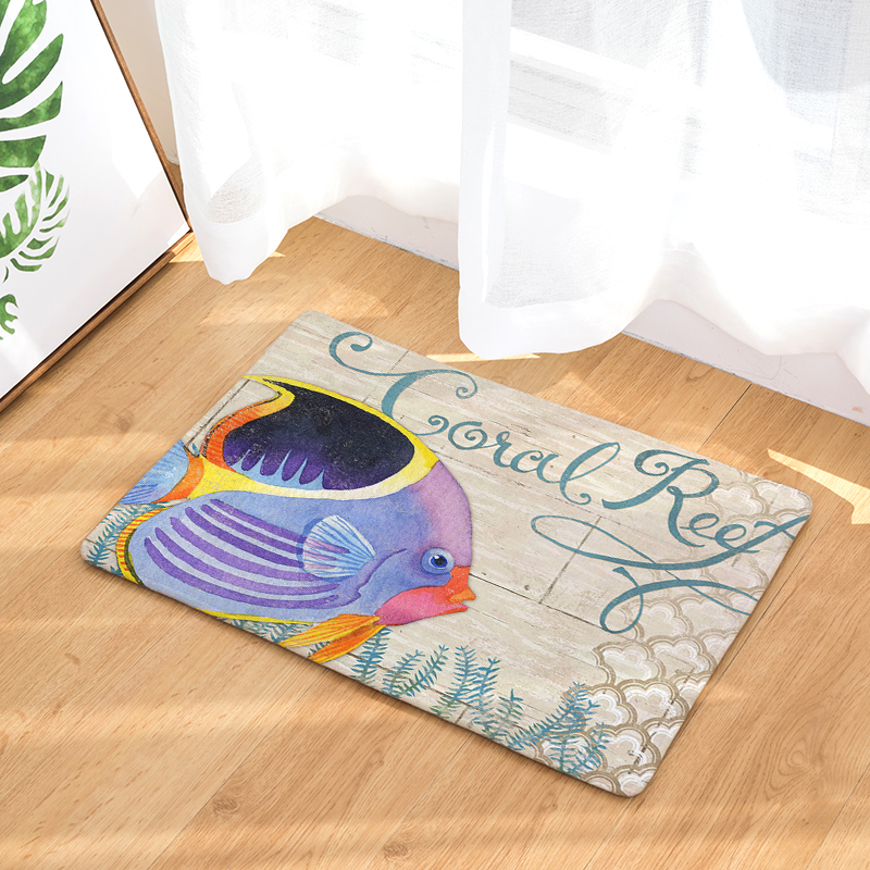 New Arrive Ocean Series Door mat Entrance Door Light Thin Flannel Cute Cartoon Cozy Carpets Home Decor Kitchen Mats
