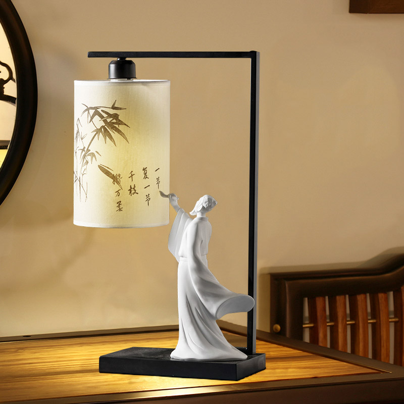 Poet People Write Calligraphy Lamp Bedside Table Lamp Chinese Style Bedroom Table Lamps For Living Room Novelty Desk Lamps Led Table Lamps
