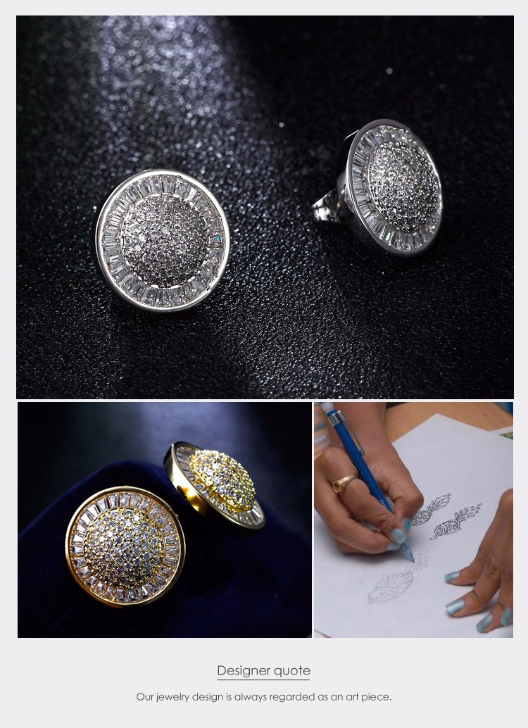 Free shipping Round shape High quality cc earings