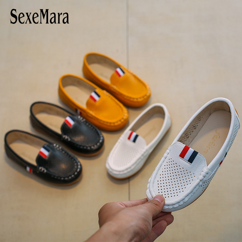 Summer Mesh Leather Shoes For Boys 2018 Slip On Children's Shoe Antiskid Flat Heel Girls Sneakers Student New Baby Shoes B01202