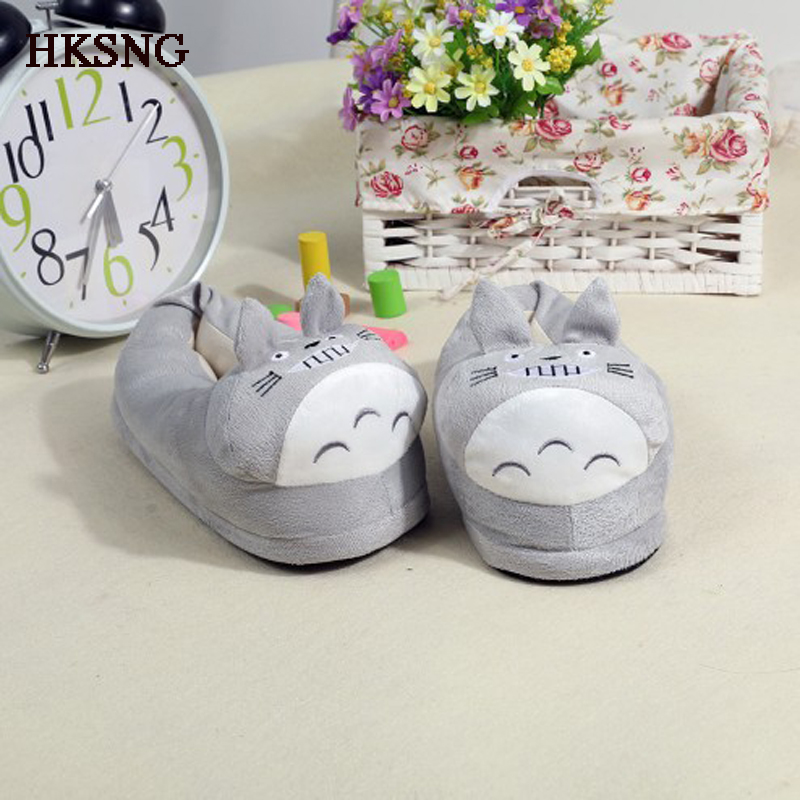 HKSNG Winter Animal Adult Totoro Shark Stitch Slippers  Pikachu Claw Indoor Floor Home Shoes For Party