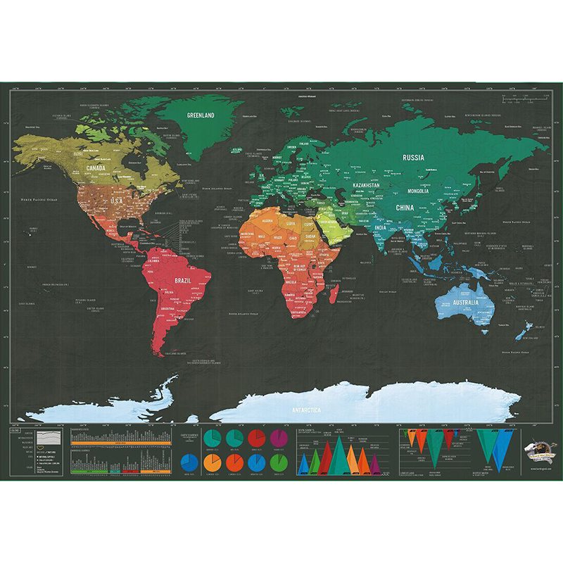 Deluxe Black Scratch Off Map World Map Best Decor School Office Stationery Supplies image