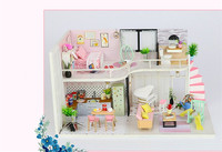 Miniature Dollhouse Pink Melody Handmake DIY Wood Children Kids Doll House With Dust Cover Decoration Adult Gift Intelligence