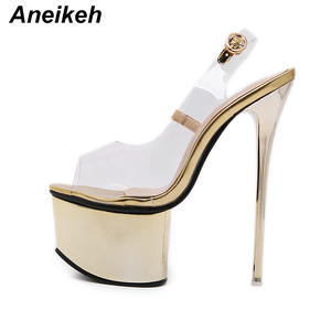 3b4b4a0d18a Aneikeh Women Gladiator Transparent High Heel Sandals Shoes