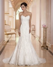 2016 Newest Design Sweetheart Mermaid Wedding Dress Lace Up  Strapless Sweep Train Full Lace Cinderella Wedding Gowns AW422