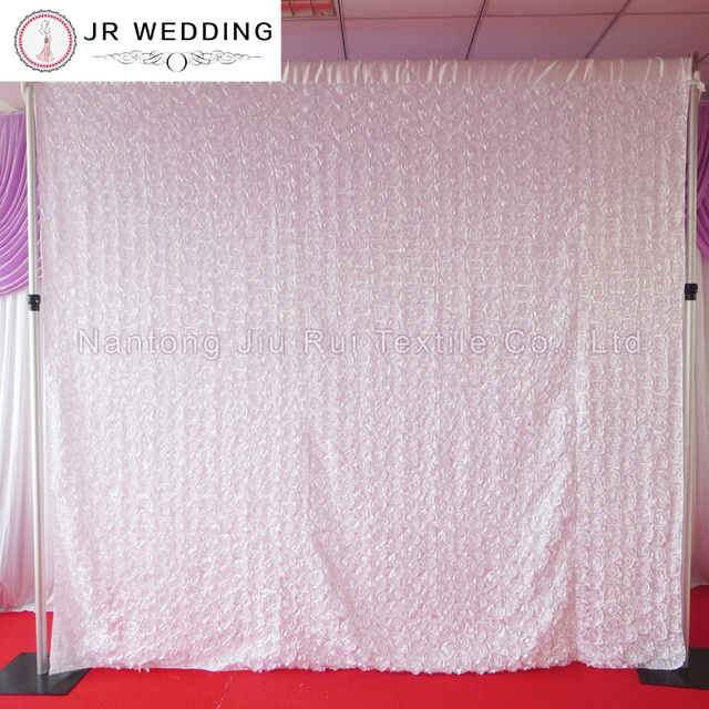 Satin Rosette Fabric 10ft Through White Color Wedding Backdrop Curtain With 1pcs
