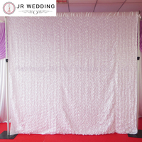 3D Satin Rosette Fabric 10FT *10FT Through Tube White Color Wedding Backdrop Curtain With 1PCS With Free Shipping