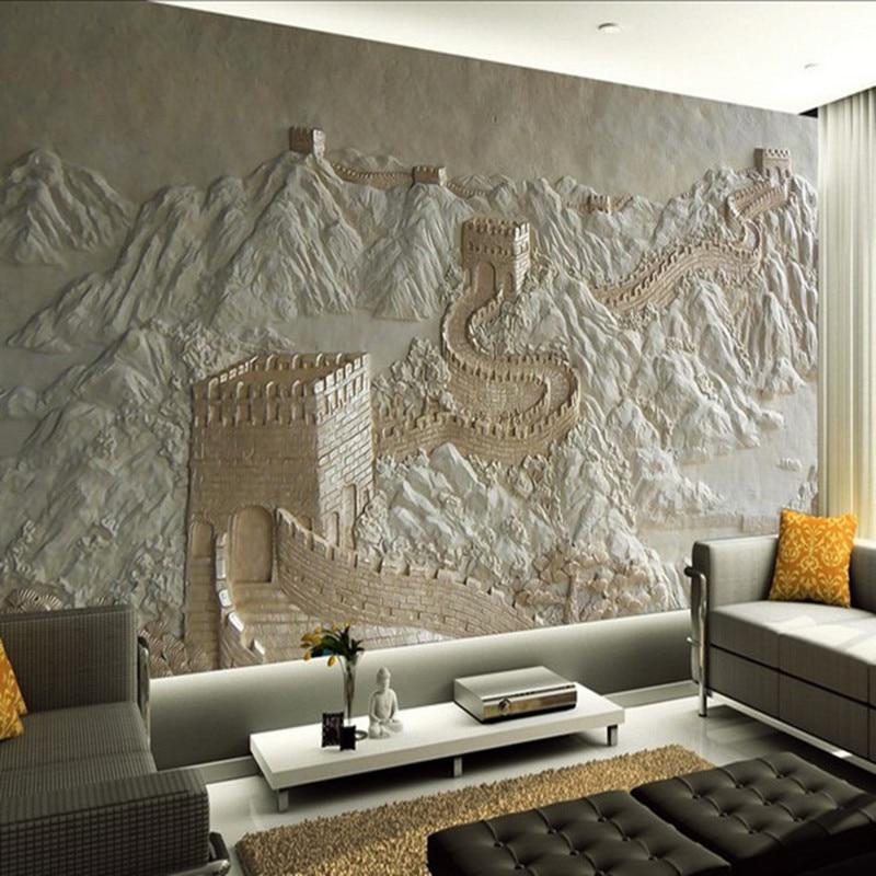 3d Wallpaper For Living Room Wall Aliexpress Com Buy 3d Wall Murals Wallpaper Great Wall