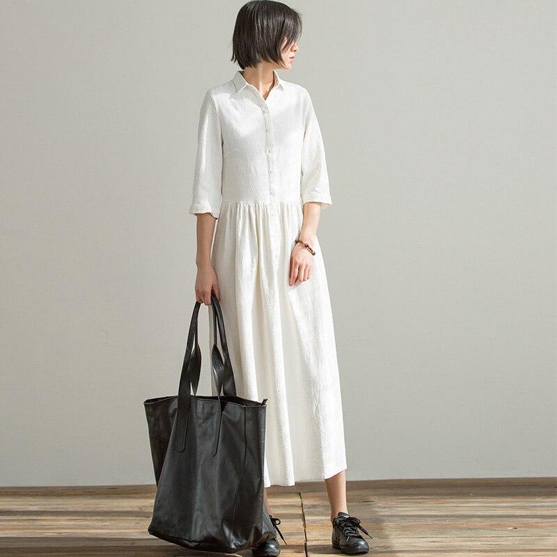 Scuwlin 2019 printemps été femmes robe décontracté solide demi-manches a-ligne longue OL Style coréen Ramie robes Vestidos P092
