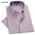2017 Men's short sleeve dress shirts spring summer casual plaid shirt men bussines formal cotton shirts for man Camisa Masculina