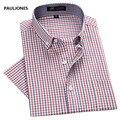 2017 dos homens camisas de vestido de manga curta primavera verão casual xadrez camisa bussines homens formais camisas para homem Camisa de algodão Masculina
