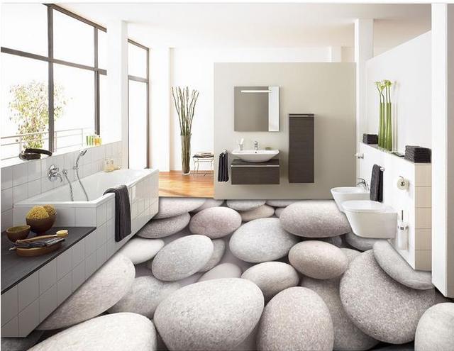Restaurant Wallpaper Vinyl Flooring Cobblestone D Stereoscopic - Can you use vinyl flooring on shower walls