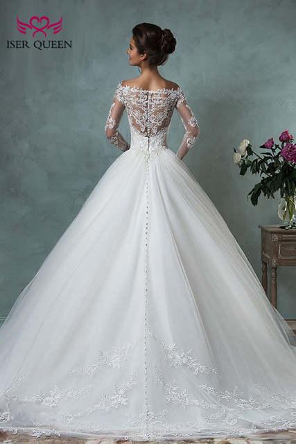 2872de3076 placeholder V neck Long Sleeve Illusion Tulle Wedding Dress Ball Gown Arab  Plus Size Lace Appliques Court