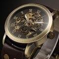 2016 Antique Bronze Автоматическая Скелет Механические Часы Мужчины Кожаный Аналоговый мужские Наручные Часы Relógio Masculino