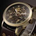 2016 antique bronze automatic skeleton relógios mecânicos homens de couro analógico de pulso dos homens relógios relogio masculino