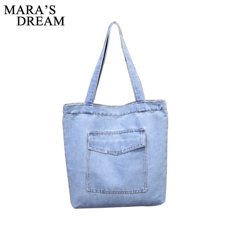 Mara's Dream Casual Blue Denim Shoulder Bags Women Handbag Classical European Women Top-hand Bag Front Pocket Cowboy Bags blue off the shoulder lace up front denim crop top