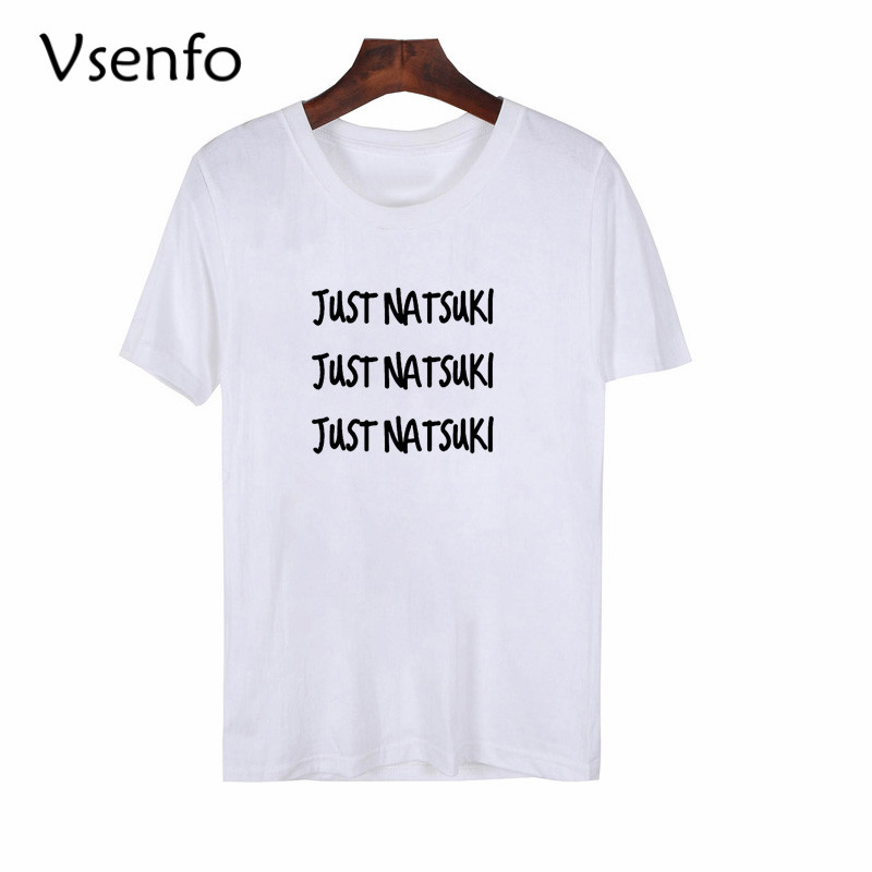 Vsenfo Just Natsuki T-Shirt Women Casual Doki Literature Club T Shirt Cotton Short Sleeve Cute Gamer Merch Shirts image