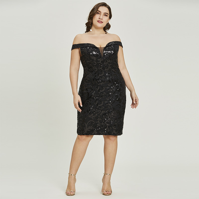 Tanpell off the shoulder cocktail dress sexy black sequins knee length  sheath gown cheap lady party 31b8e76989ea
