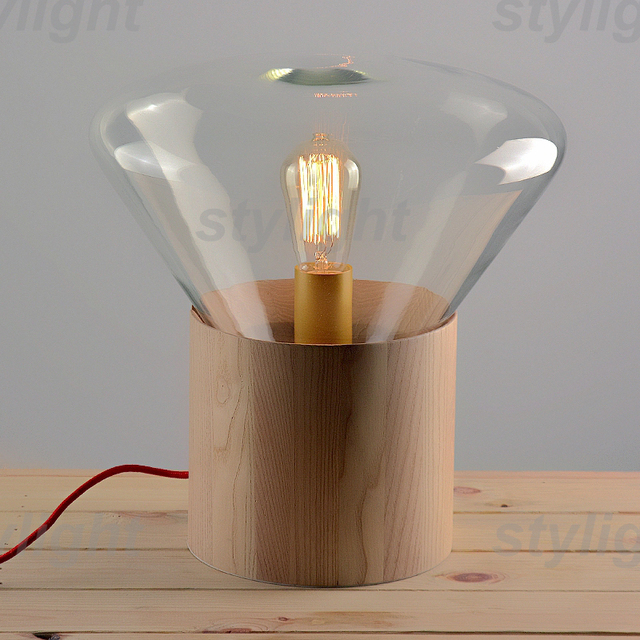 Small Size Table Lamp Wood Base Glass Shade Table Light Nordic Design  Modern Desk Lamp Novelty