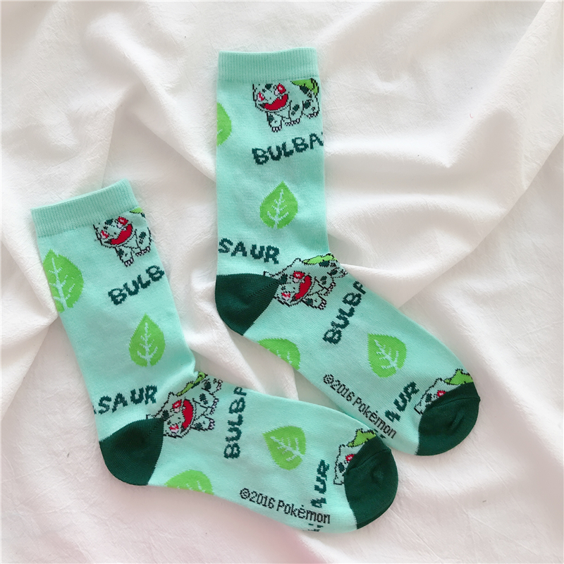Funny Halajuku Pokemon Charmander Pikachu Squirtle Jigglypuff Printed Socks Hip Hop Socks Unisex Crew Sock 1 Pair