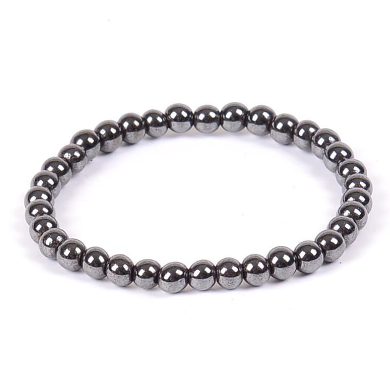 Black Color 6 8 10 12mm Magnetic Hematite Beads Magnetic Hematite Therapy Health Care Bracelet Women