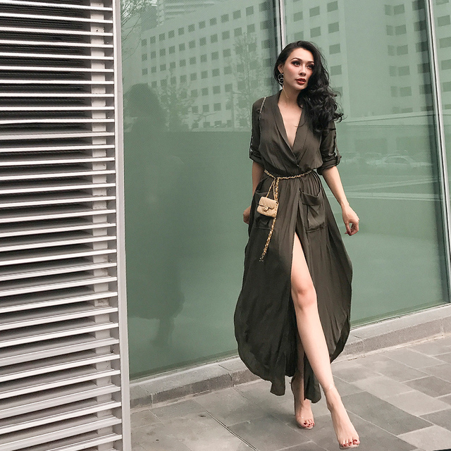 Brand new le palais vintage 2017 Autumn Very Sexy Low Cut Safari Style Dress  JR89