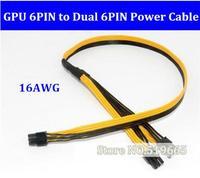 PCI Express Grafik Kartı Konektörü PC Kaynağı GPU Molex 6pin için çift Pci-E 6 pin Dahili erkek Kablo Güç Splitter 16AWG tarafından DHL