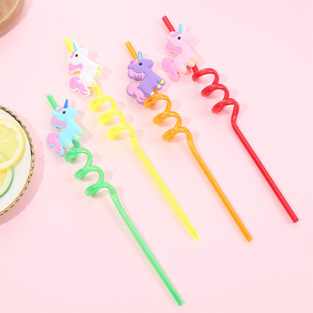 Cute Unicorn Shaped Curly Reusable Straws
