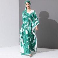 High Quality 2017 Runway Fashion Designer Maxi Dress Women's Batwing Sleeve Green Palm Leaf Floral Print Loose Casual Long Dress