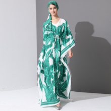 Yüksek kalite 2017 pist moda tasarımcısı Maxi elbise kadın Batwing kollu yeşil palmiye yaprağı çiçek baskı gevşek rahat uzun elbise