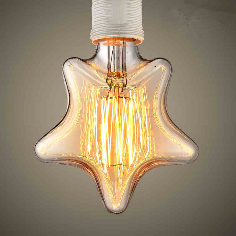 Retro Lamp E27 Christmas Lights Indoor Vintage Star Shape Edison Bulb Filament Incandescent Lamp Decorative Light Bulb For Home