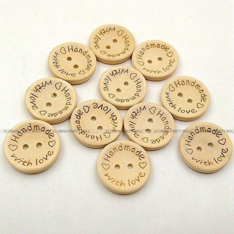 HTB1DF1caqLN8KJjSZFKq6z7NVXa4 ELOMAN 50PCS/lot Natural Color Wooden Buttons handmade love Letter wood button craft DIY baby apparel accessories