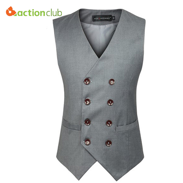 Mens Double Breasted Suit Vest Men Dress