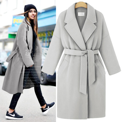 Hchenli Brand Pink coat women 2018 winter new products suit collared cashmere woolen coat Long coat lady with Belt free shipping
