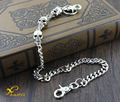 "Simple Strong Basic Biker Trucker Skull Wallet Chain (21"") Silver KC108"