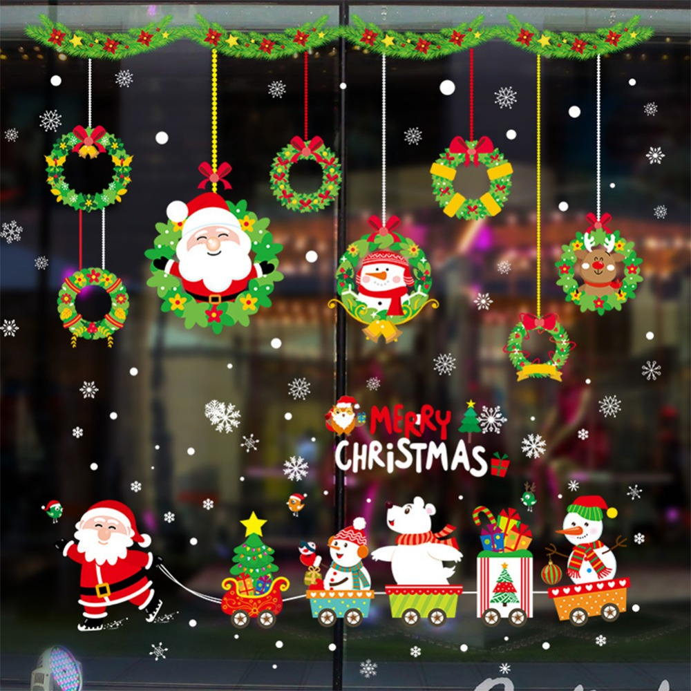 Shop For Cheap Snowflake Santa Claus Sled Festival Party Supplies Glass Window Sticker Christmas Wall Decoration Xmas Ornament New Year Pendant Diamond
