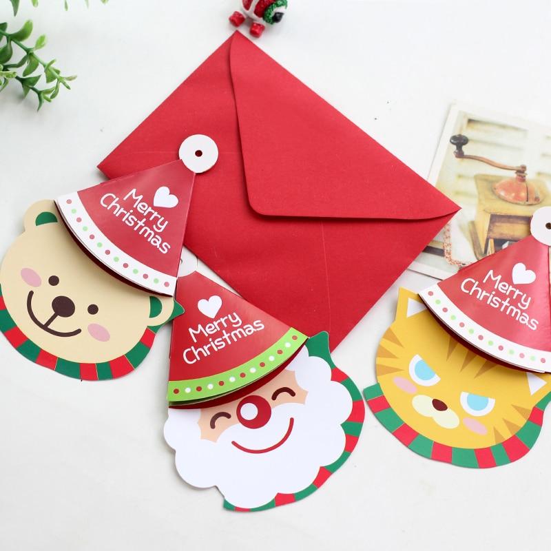 12pcs/lot Cute Christmas Hat Shaped Blessing Card Creative