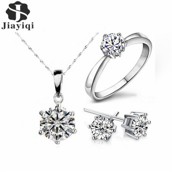 2017 Hot Sale Silver Fashion Jewelry Sets Cubic Zircon Crystal Statement Necklace & Earrings & Rings Fine Jewelry for Women Gift
