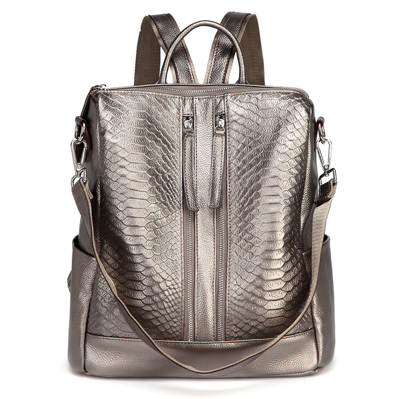 Luxury Female Leather Knapsack Double Zipper Design Real Cowhide Leather Women's Backpack Large Capacity Girl Travel Bag