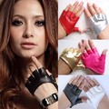 Good quality! Cattle archetypical Sex and the city star style men women's semi-palm semi-finger ds PU faux leather gloves