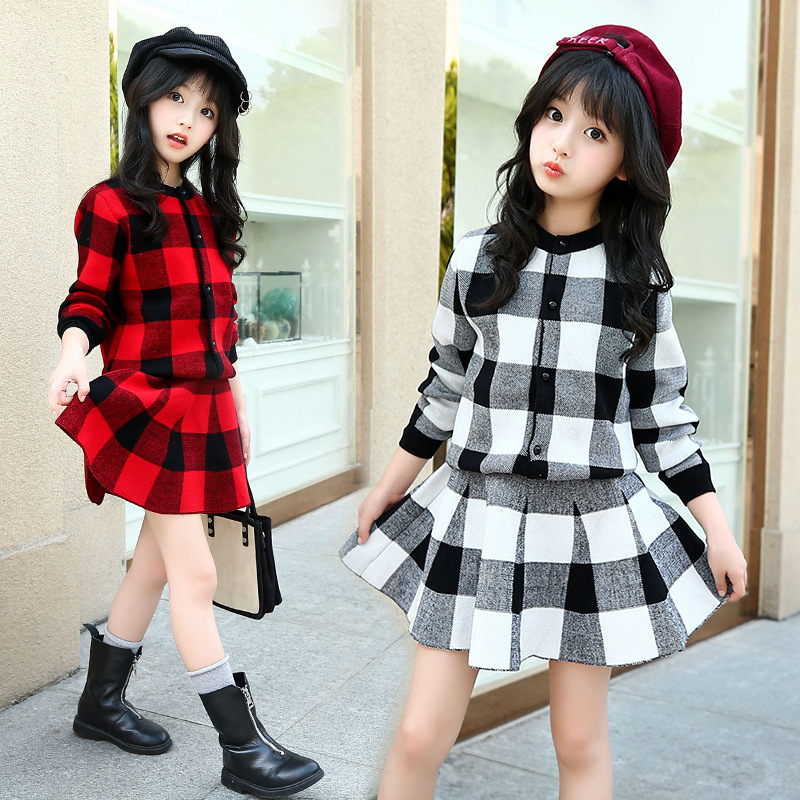 Children's Garment Autumn And Winter Fashion Sweater Suit Sweater Dress Skirt Sweater 2 Pieces Set Kids Clothing