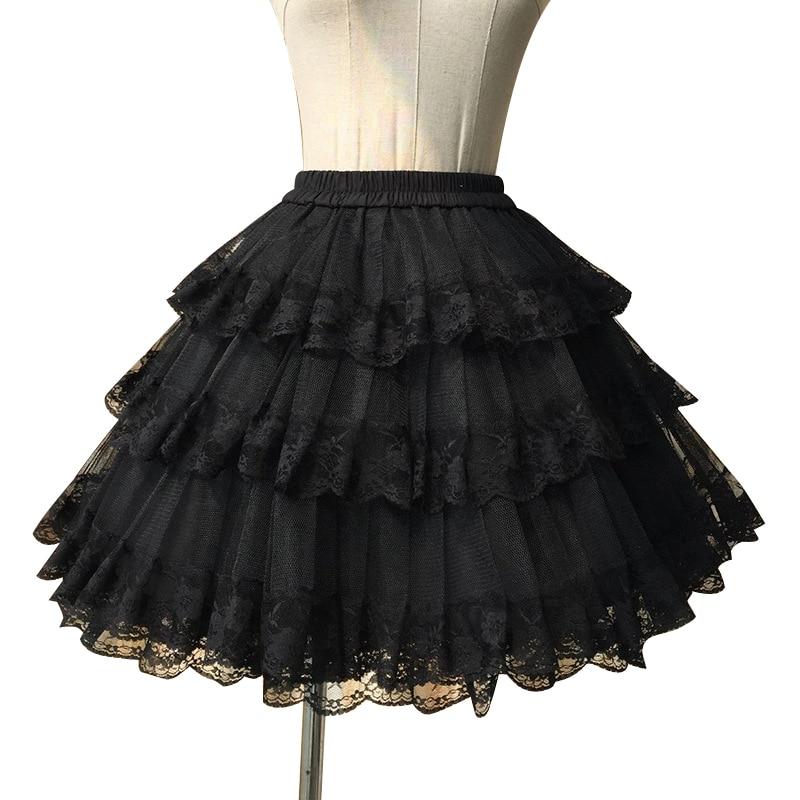 स्वीट व्हाइट / ब्लैक कॉस्प्ले स्कर्ट तीन लेयर लेस लोलिता पेटीकोट / टूटू स्कर्ट मुफ्त शिपिंग