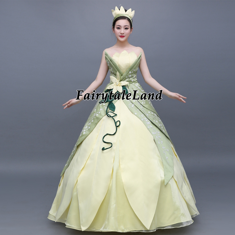 Embroidery Princess Tiana Dress women Fancy cosplay Halloween Costume custom made The Princess and Frog Tiana cosplay costume
