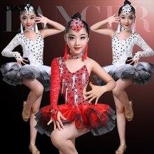 Латинской для фламенко, бальных танцев конкуренции платья для девочек с пайетками и сальса Румба Самба, ча-ча, платье для детей, детские костюмы